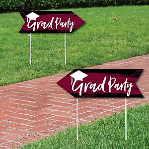 Maroon Grad - Best is Yet to Come - Graduation Party Sign Arrow - Double Sided Directional Yard Signs - Set of 2