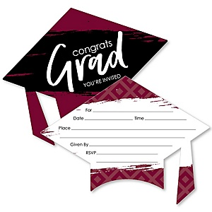 Maroon Grad - Best is Yet to Come - Shaped Fill-In Invitations - Graduation Party Invitation Cards with Envelopes - Set of 12