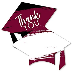 Maroon Grad - Best is Yet to Come - Shaped Thank You Cards - Maroon Graduation Party Thank You Note Cards with Envelopes - Set of 12