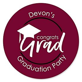 Maroon Grad - Best is Yet to Come - Personalized Graduation Sticker Labels - 24 ct