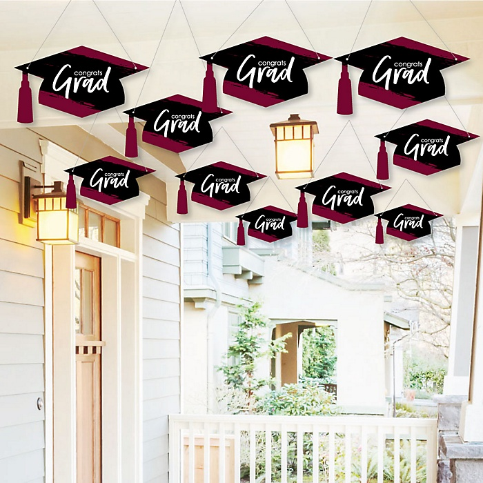 Hanging Maroon Grad - Best is Yet to Come - Outdoor Graduation Party Hanging Porch & Tree Yard Decorations - 10 Pieces