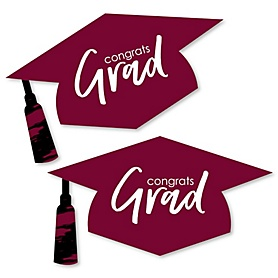 Maroon Grad - Best is Yet to Come - Graduation Hat Decorations DIY Large Burgundy Graduation Party Essentials - 20 Count