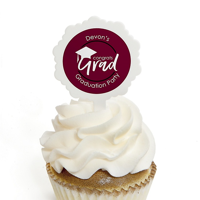 Maroon Grad - Best is Yet to Come - Personalized Graduation Cupcake Pick and Sticker Kit - 12 ct