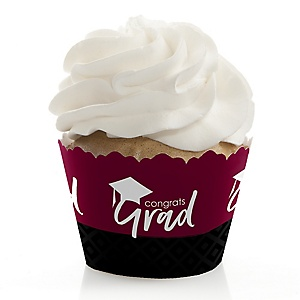 Maroon Grad - Best is Yet to Come - Graduation Decorations - Party Cupcake Wrappers - Set of 12
