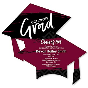 Maroon Grad - Best is Yet to Come - Personalized 2019 Graduation Invitations - Set of 12