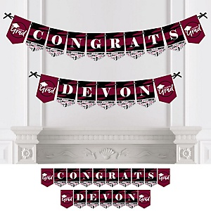 Maroon Grad - Best is Yet to Come - Personalized 2019 Graduation Party Bunting Banner & Decorations