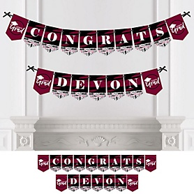 Maroon Grad - Best is Yet to Come - Personalized 2020 Graduation Party Bunting Banner & Decorations