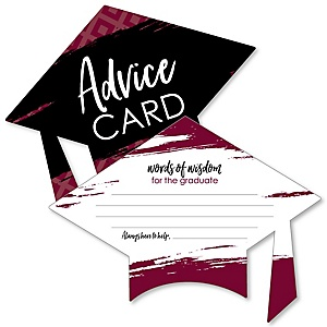 Maroon Grad - Best is Yet to Come - Burgundy Grad Cap Graduation Party Advice Cards - Set of 20