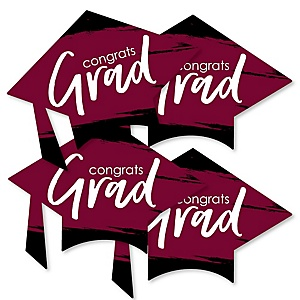 Maroon Grad - Best is Yet to Come - Grad Cap Decorations DIY Burgundy Graduation Party Essentials - Set of 20
