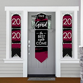 Maroon Grad - Best is Yet to Come - Hanging Porch Front Door Signs - 2020 Burgundy Graduation Party Banner Decoration Kit - Outdoor Door Decor