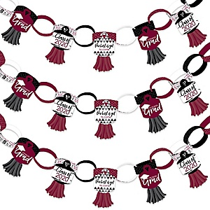 Maroon Grad - Best is Yet to Come - 90 Chain Links and 30 Paper Tassels Decoration Kit - 2020 Burgundy Graduation Party Paper Chains Garland - 21 feet