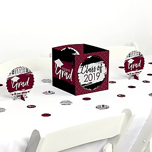 Maroon Grad - Best is Yet to Come - 2019 Graduation Party Centerpiece & Table Decoration Kit