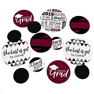 Maroon Grad - Best is Yet to Come - 2019 Graduation Party Giant Circle Confetti - Maroon Grad Party Decorations - Large Confetti 27 Count