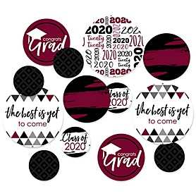 Maroon Grad - Best is Yet to Come - 2020 Graduation Party Giant Circle Confetti - Maroon Grad Party Decorations - Large Confetti 27 Count