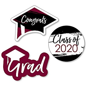 Maroon Grad - Best is Yet to Come - DIY Shaped 2020 Graduation Party Paper Cut-Outs - 24 ct