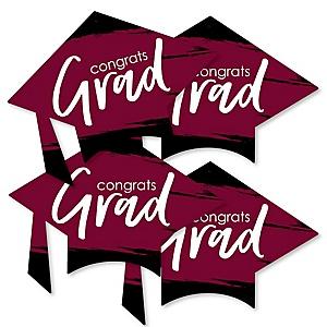 Maroon Grad - Best is Yet to Come - Grad Cap Decorations DIY Burgundy Graduation Party Essentials - Set of 20