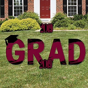 GRAD - Maroon Grad - Best is Yet to Come - Yard Sign Outdoor Lawn Decorations - Maroon 2019 Graduation Party Yard Signs