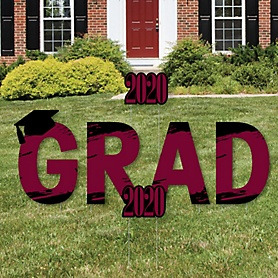 GRAD - Maroon Grad - Best is Yet to Come - Yard Sign Outdoor Lawn Decorations - Maroon 2020 Graduation Party Yard Signs