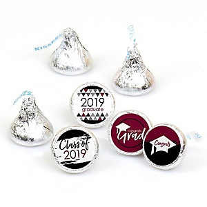 Maroon Grad - Best is Yet to Come - Round Candy Labels 2019 Graduation Party Favors - Fits Hershey's Kisses 108 ct