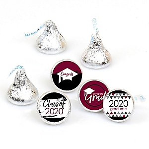 Maroon Grad - Best is Yet to Come - Round Candy Labels 2020 Graduation Party Favors - Fits Hershey's Kisses 108 ct