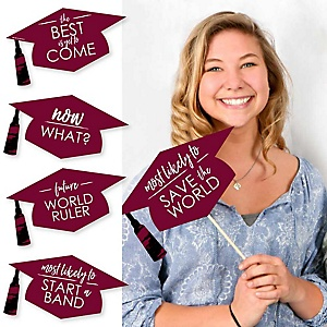 Hilarious Maroon Grad - Best is Yet to Come - 20 Piece Maroon Graduation Party Photo Booth Props Kit
