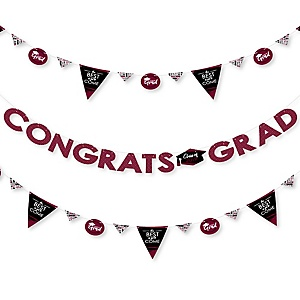 Maroon Grad - Best is Yet to Come - 2019 Maroon Graduation Party Letter Banner Decoration - 36 Banner Cutouts and Congrats Grad Banner Letters
