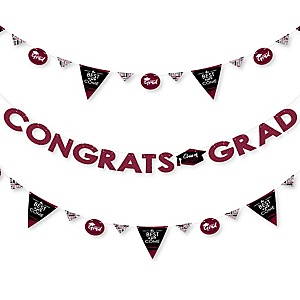 Maroon Grad - Best is Yet to Come - 2020 Maroon Graduation Party Letter Banner Decoration - 36 Banner Cutouts and Congrats Grad Banner Letters