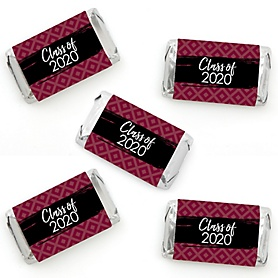 Maroon Grad - Best is Yet to Come - Mini Candy Bar Wrapper Stickers - 2020 Maroon Graduation Party Small Favors - 40 Count