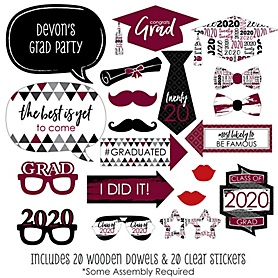 Maroon Grad - Best is Yet to Come - 20 Piece 2020 Graduation Party Photo Booth Props Kit