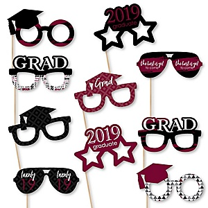 Maroon Grad Glasses - Best is Yet to Come - Maroon 2019 Paper Card Stock Graduation Party Photo Booth Props Kit - 10 Count