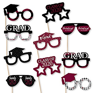 Maroon Grad Glasses - Best is Yet to Come - Maroon 2020 Paper Card Stock Graduation Party Photo Booth Props Kit - 10 Count