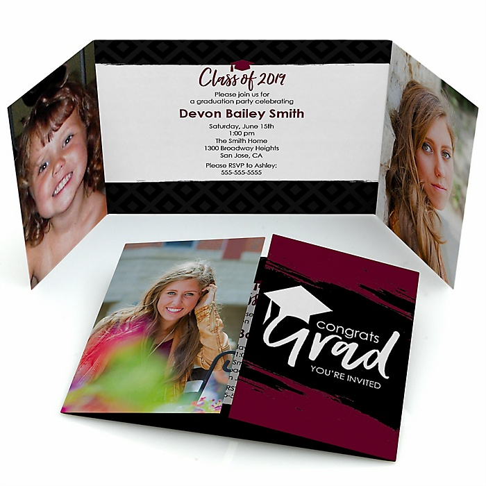 Maroon Grad - Best is Yet to Come - Personalized Photo 2019 Graduation Invitations - Set of 12