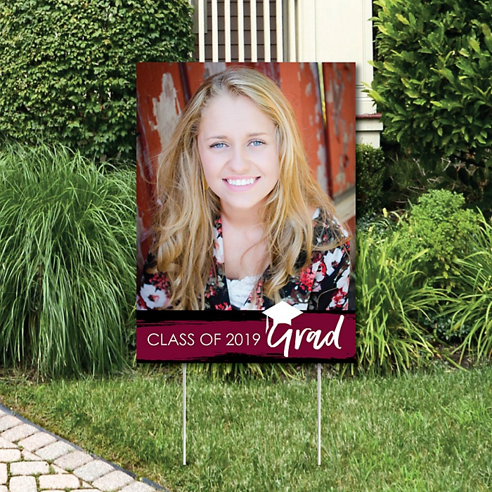 Maroon Grad - Best is Yet to Come - Photo Yard Sign - Maroon 2019 Graduation Party Decorations