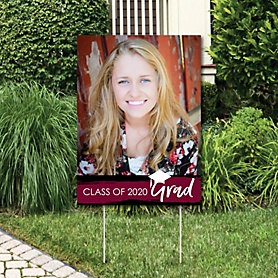 Maroon Grad - Best is Yet to Come - Photo Yard Sign - Maroon 2020 Graduation Party Decorations