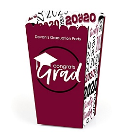 Maroon Grad - Best is Yet to Come - Personalized 2020 Graduation Popcorn Favor Treat Boxes - Set of 12