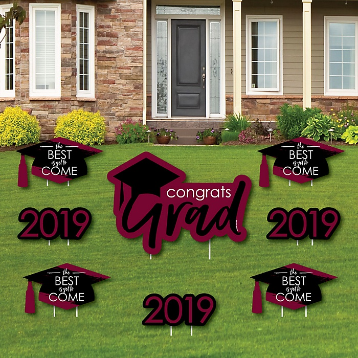 Maroon Grad - Best is Yet to Come - Yard Sign & Outdoor Lawn Decorations – 2019 Graduation Party Yard Signs - Set of 8