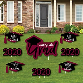 Maroon Grad - Best is Yet to Come - Yard Sign & Outdoor Lawn Decorations – 2020 Graduation Party Yard Signs - Set of 8