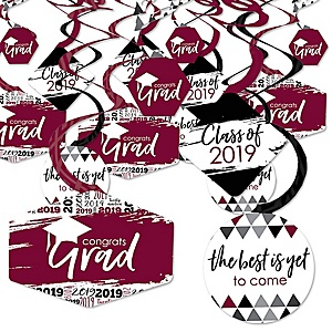 Maroon Grad - Best is Yet to Come - 2019 Burgundy Graduation Party Hanging Decor - Party Decoration Swirls - Set of 40