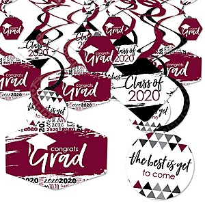 Maroon Grad - Best is Yet to Come - 2020 Burgundy Graduation Party Hanging Decor - Party Decoration Swirls - Set of 40