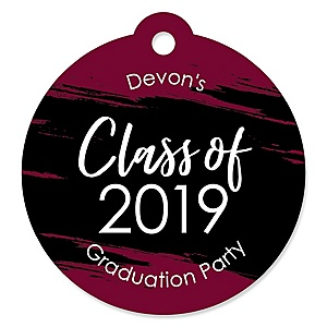 Maroon Grad - Best is Yet to Come - Round Personalized 2019 Graduation Party Die-Cut Tags - 20 ct