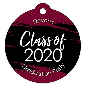 Maroon Grad - Best is Yet to Come - Round Personalized 2020 Graduation Party Die-Cut Tags - 20 ct