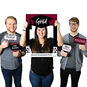 Maroon Grad - Best is Yet to Come - Personalized Graduation Party Selfie Photo Booth Picture Frame & Props - Printed on Sturdy Material
