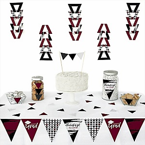 Maroon Grad - Best is Yet to Come -  Triangle Graduation Party Decoration Kit - 72 Piece