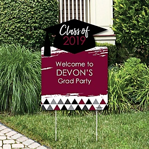 Maroon Grad - Best is Yet to Come - Party Decorations - 2019 Graduation Party Personalized Welcome Yard Sign