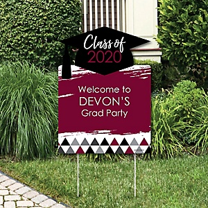 Maroon Grad - Best is Yet to Come - Party Decorations - 2020 Graduation Party Personalized Welcome Yard Sign
