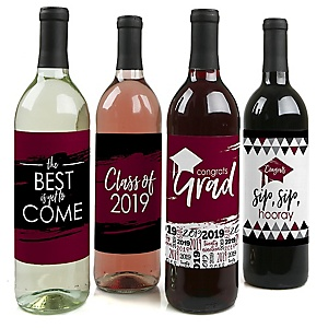Maroon Grad - Best is Yet to Come - 2019 Graduation Decorations for Women and Men - Wine Bottle Label Stickers - Set of 4