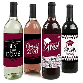 Maroon Grad - Best is Yet to Come - 2020 Graduation Decorations for Women and Men - Wine Bottle Label Stickers - Set of 4
