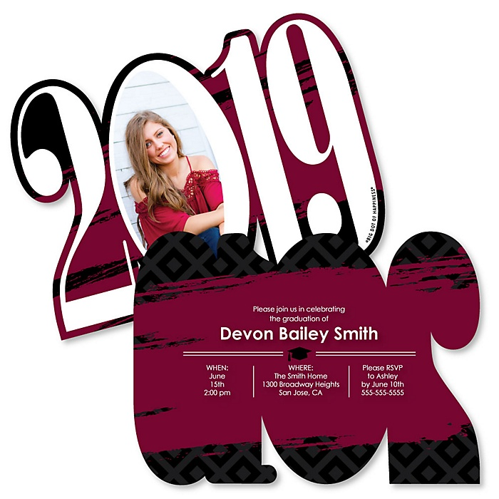 Maroon Grad - Best is Yet to Come - Personalized 2019 Photo Graduation Announcement - Set of 12