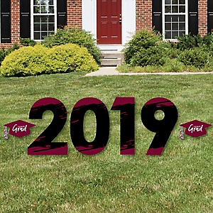 Maroon Grad - Best is Yet to Come - 2019 Yard Sign Outdoor Lawn Decorations - Maroon Graduation Party Yard Signs - 2019