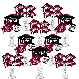 Maroon Grad - Best is Yet to Come - 2020 Burgundy Graduation Party Centerpiece Sticks - Showstopper Table Toppers - 35 Pieces